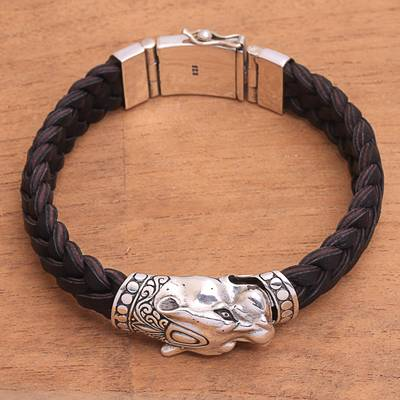 Mens sterling silver braided pendant bracelet, Panther Palace