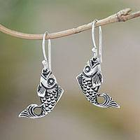 Sterling silver dangle earrings, 'Elegant Goldfish' - Balinese Sterling Silver Elegant Goldfish Dangle Earrings