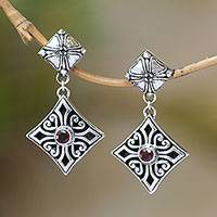 Garnet dangle earrings, 'Bali Cross' - Sterling Silver and Garnet Floral Cross Dangle Earrings