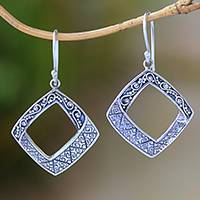 Sterling silver dangle earrings, 'Songket Splendor' - Sterling Silver Abstract Songket Motif Dangle Earrings
