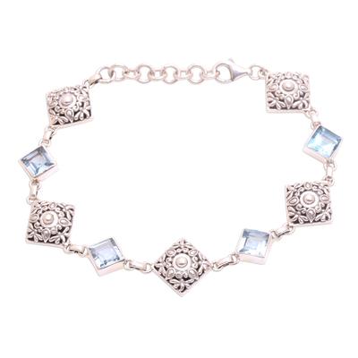 Blue Topaz and Sterling Silver Dragonfly Link Bracelet