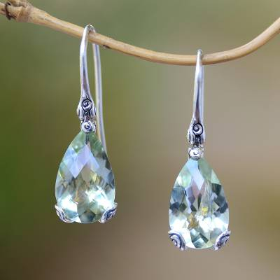 Prasiolite dangle earrings, 'Buddha's Curl Drops' - 8-Carat Prasiolite Dangle Earrings from Bali