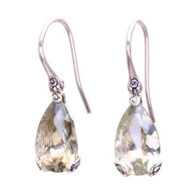 8-Carat Prasiolite Dangle Earrings from Bali