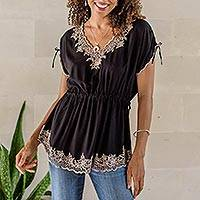 Rayon blouse, 'Floral Flirt in Onyx' - Floral Embroidered Rayon Blouse in Onyx from Bali