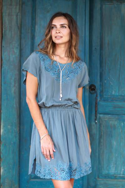 Rayon minidress, 'Blue Spruce Kusuma' - Floral Embroidered Rayon Minidress in Blue from Bali
