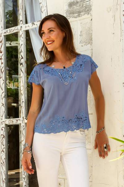 Rayon blouse, 'Blue Spruce Kusuma' - Floral Embroidered Rayon Blouse in Blue from Bali