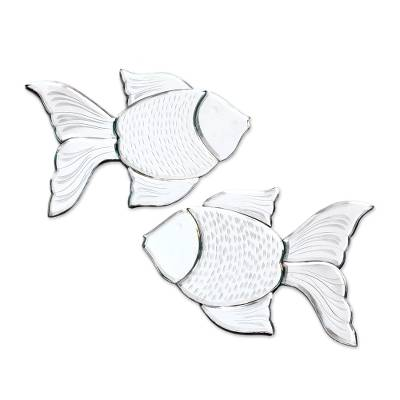 Glass Goldfish Decorative Wall Mirrors from Java (Pair)