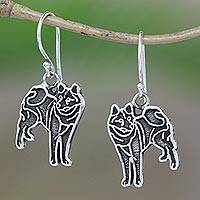 Sterling silver dangle earrings, 'Great Wolf' - Handcrafted Sterling Silver Standing Wolf Dangle Earrings