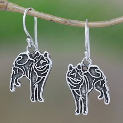 Sterling silver dangle earrings, Great Wolf