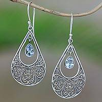 Blue topaz dangle earrings, 'Brimming with Elegance' - Blue Topaz Sterling Silver Scrolls Teardrop Dangle Earrings