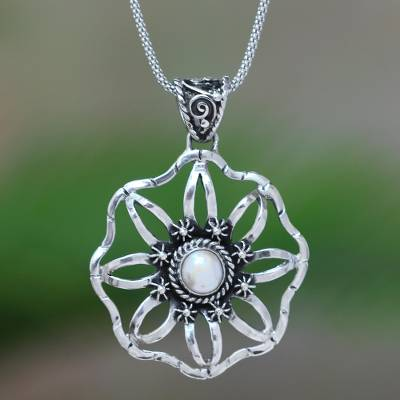 Cultured pearl pendant necklace, 'Moon Ray Garden' - Cultured Pearl and Sterling Silver Flower Pendant Necklace