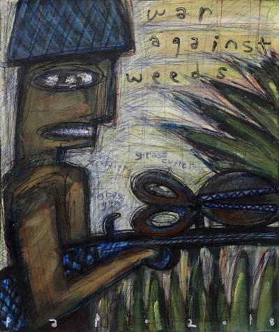 'War Against Weeds' - Signed Modern Painting by an Artist from Bali