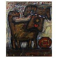 'Funny Doggy' - Signed Modern Painting of a Dog from Bali