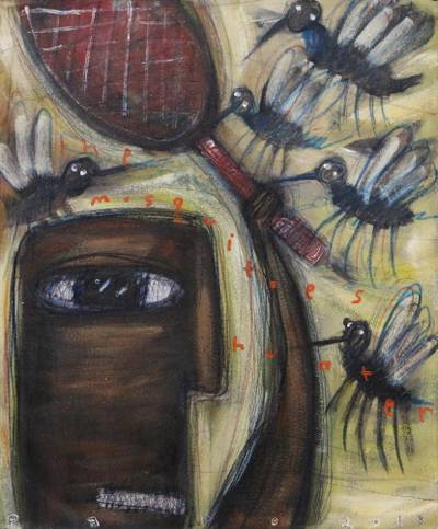 'The Mosquito Hunter' - Signed Modern Mosquito Painting from Bali