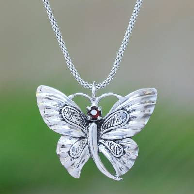 Garnet pendant necklace, 'Monarch Princess' - Garnet Butterfly Pendant Necklace from Java