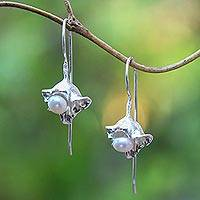 Cultured pearl drop earrings, 'Orchid Dew' - Cultured Pearl Sterling Silver Drop Earrings from Bali