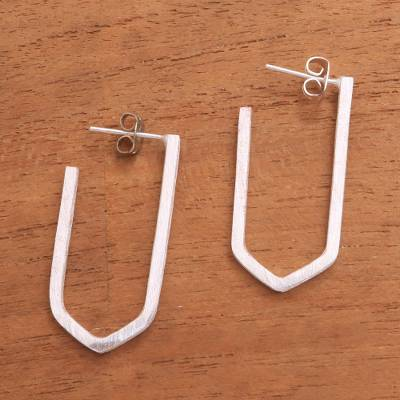 Sterling silver drop earrings, 'Geometric Couple' - Geometric Sterling Silver Drop Earrings from Bali