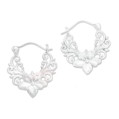 Floral Sterling Silver Hoop Earrings from Bali
