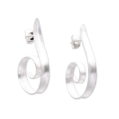 Spiral Motif Sterling Silver Half-Hoop Earrings from Bali