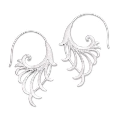 Openwork Sterling Silver Half-Hoop Earrings from Bali