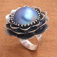 Cultured mabe pearl cocktail ring, 'Sky Lotus' - Sterling Silver Blue Cultured Mabe Pearl Lotus Cocktail Ring
