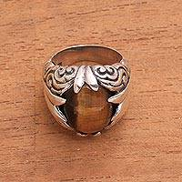 Tiger's eye cocktail ring, 'Hope Cloud' - Handcrafted Sterling Silver Brown Tiger's Eye Cocktail Ring
