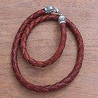 Leather braided wrap bracelet, 'Divine Dusk in Brown' - Sterling Silver and Brown Braided Leather Wrap Bracelet