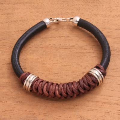 Leather and sterling silver braided pendant bracelet, 'Braided Queen' - Leather and Sterling Silver Braided Pendant Bracelet