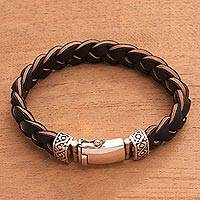 Men's braided leather bracelet, 'Earth Braid' - Men's Leather and Sterling Silver Braided Bracelet