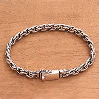 Sterling silver chain bracelet, 'Forever United' - Sterling Silver Chain Bracelet Handcrafted in Bali