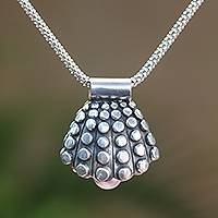 Cultured pearl pendant necklace, 'Bunaken Shell' - Cultured Pearl Shell Pendant Necklace from Java