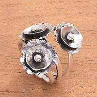 Sterling silver cocktail ring, 'Poppy Flowers' - Modern Floral Sterling Silver Cocktail Ring from Java