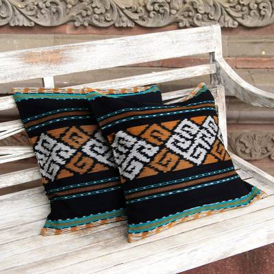 Cotton cushion covers, 'Respati Wengi' (pair) - Ikat Geometric Cotton Cushion Covers from Java (Pair)