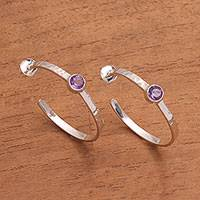 Amethyst half hoop earrings, 'Mosaic Song' - Bali Hammered Sterling Silver Amethyst Half Hoop Earrings