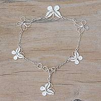 Sterling silver filigree station bracelet, 'Butterfly Sanctuary' - Sterling Silver Filigree Butterfly Bracelet Crafted in Java