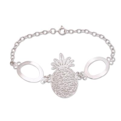 Handcrafted Sterling Silver Pineapple Pendant Bracelet