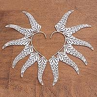 Sterling silver ear cuff, 'Fern Leaf' - Handcrafted Sterling Silver Filigree Leaf Ear Wraps