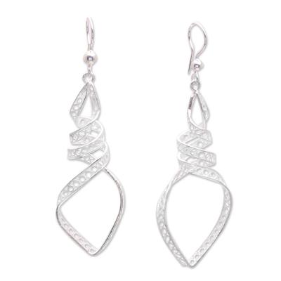 Sterling Silver Filigree Descending Spiral Dangle Earrings