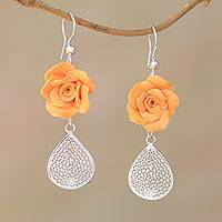 Sterling silver filigree dangle earrings, 'Orange Garden' - Sterling Silver and Orange Rose Polymer Clay Dangle Earrings