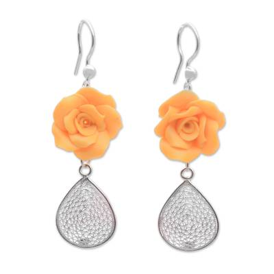 Sterling Silver and Orange Rose Polymer Clay Dangle Earrings