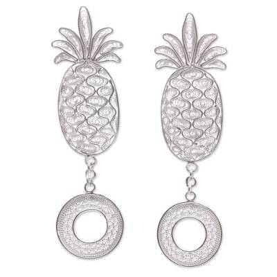 Sterling Silver Filigree Pineapple Dangle Earrings