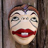 Wood mask, 'Semar' - Artisan Crafted Wood Batik Mask from Javanese Artisan