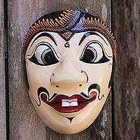 Wood mask, 'Smiling Gareng' - Hand Painted Indonesian Albesia Wood Mask with Batik Motifs