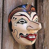 Wood mask, 'Petruk' - Handcrafted Javanese Style Wood Batik Mask