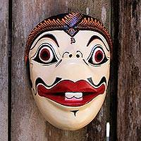 Wood mask, 'Bagong' - Hand Painted Batik Albesia Wood Mask from Indonesia