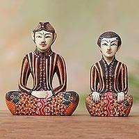 Batik wood statuettes, 'Inseparable Couple' (pair) - Two Wedding Couple Javanese Wood Batik Sculptures
