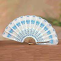 Leather fan, 'Blue Butterfly Arch' - Leather and Buffalo Horn Blue and White Butterfly Hand Fan
