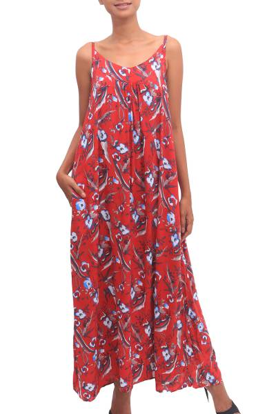 Rayon sundress, 'Strawberry Bouquet' - Floral Rayon Sundress in Strawberry from Bali