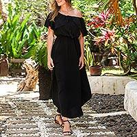 Rayon sundress, 'Breezy Black' - Rayon Sundress in Black from Bali