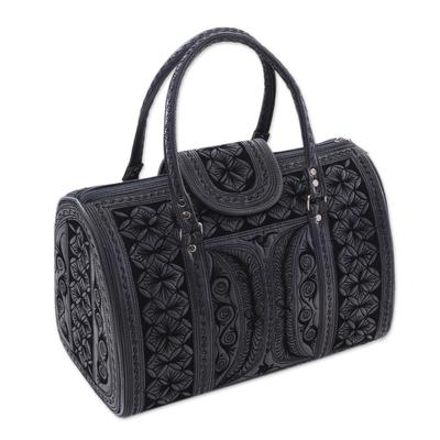 Black and Grey Handwoven Embroidered Cotton Handbag